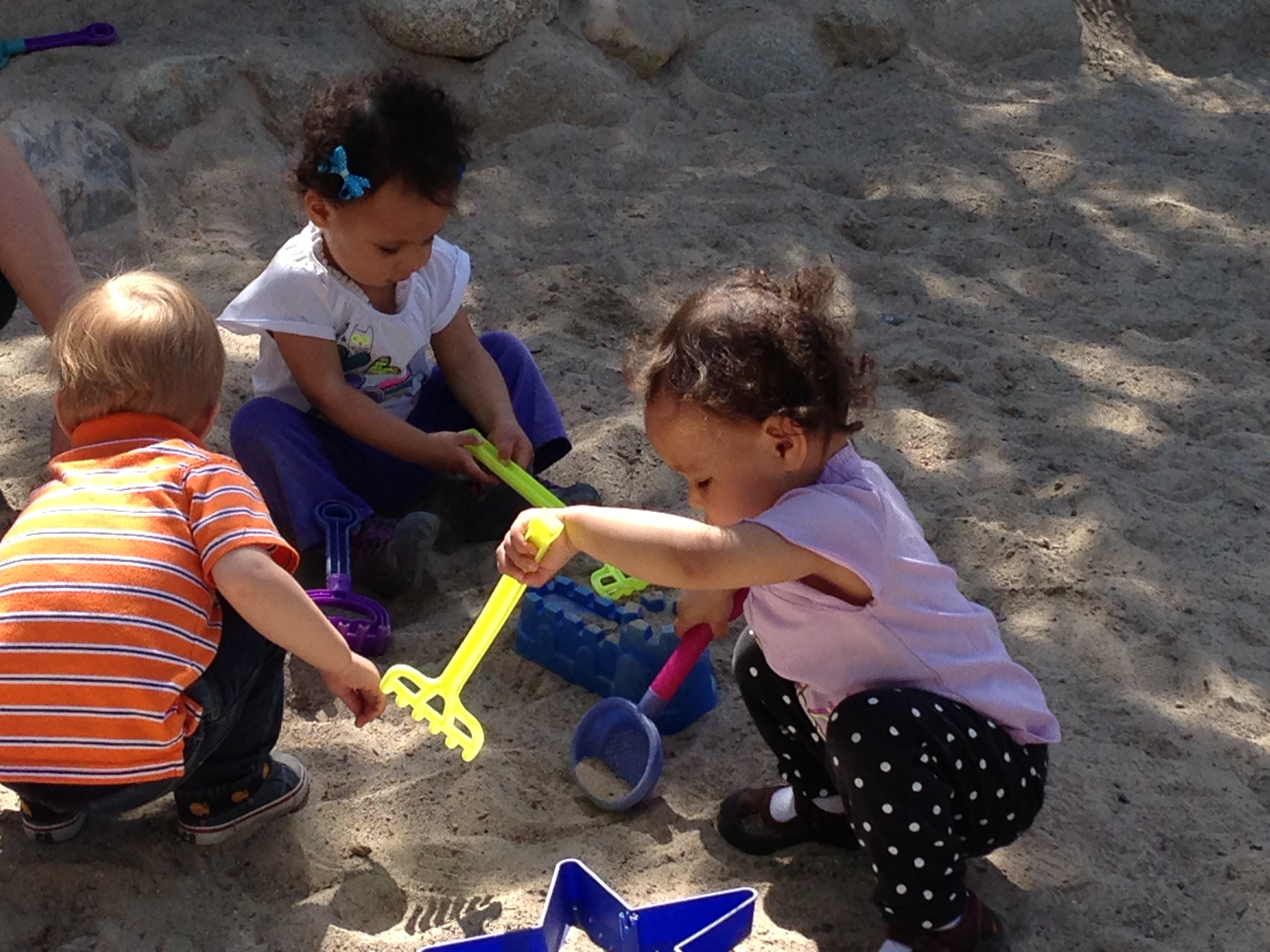 Diana (l) and Vanessa, in the sand pit at Thanksgiving Point's Children's Discovery Garden