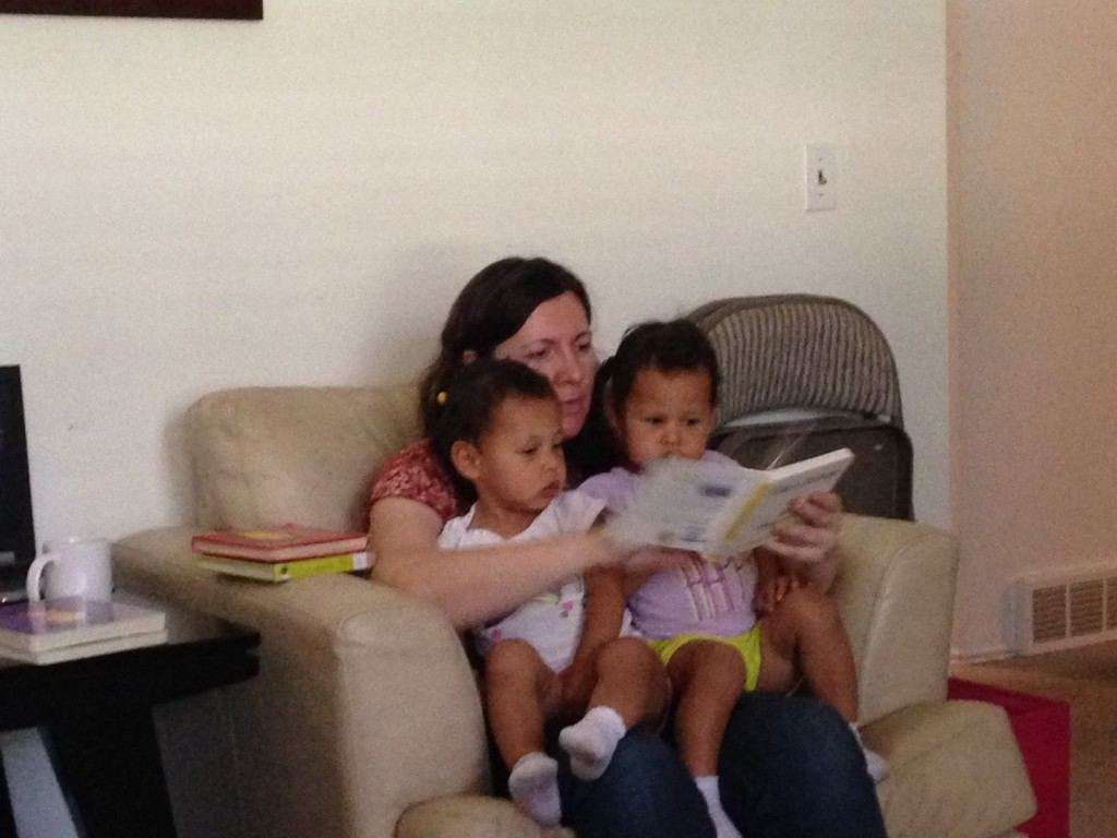 Reading time with Mom...