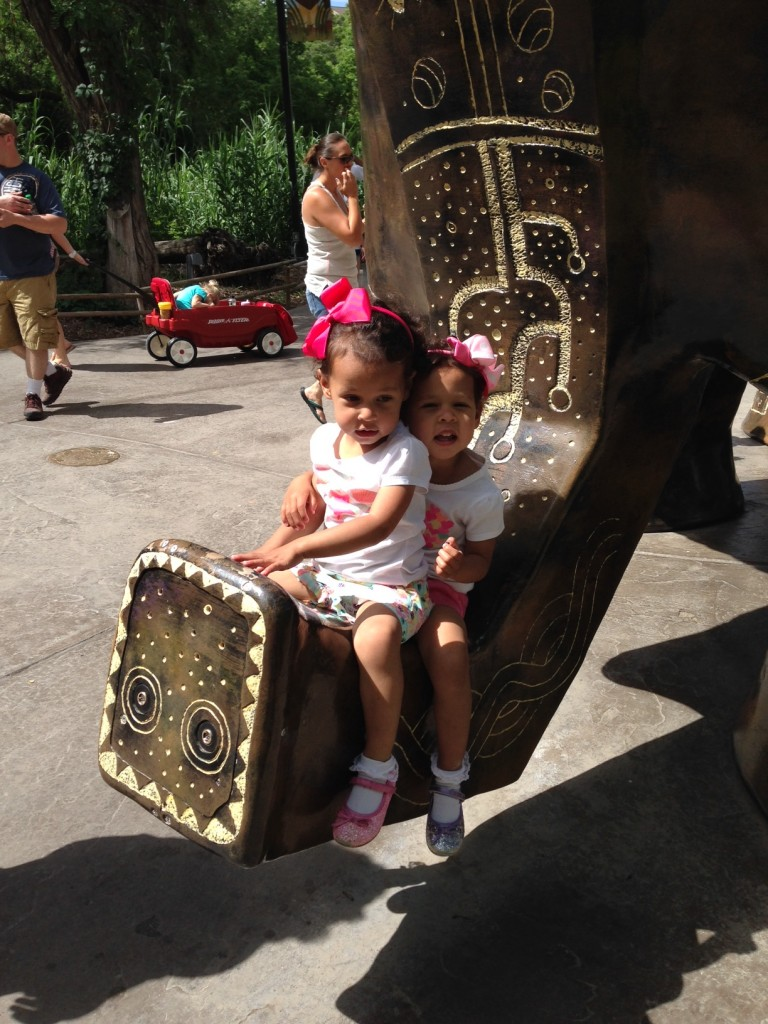 On the elephant statue at Hogle Zoo