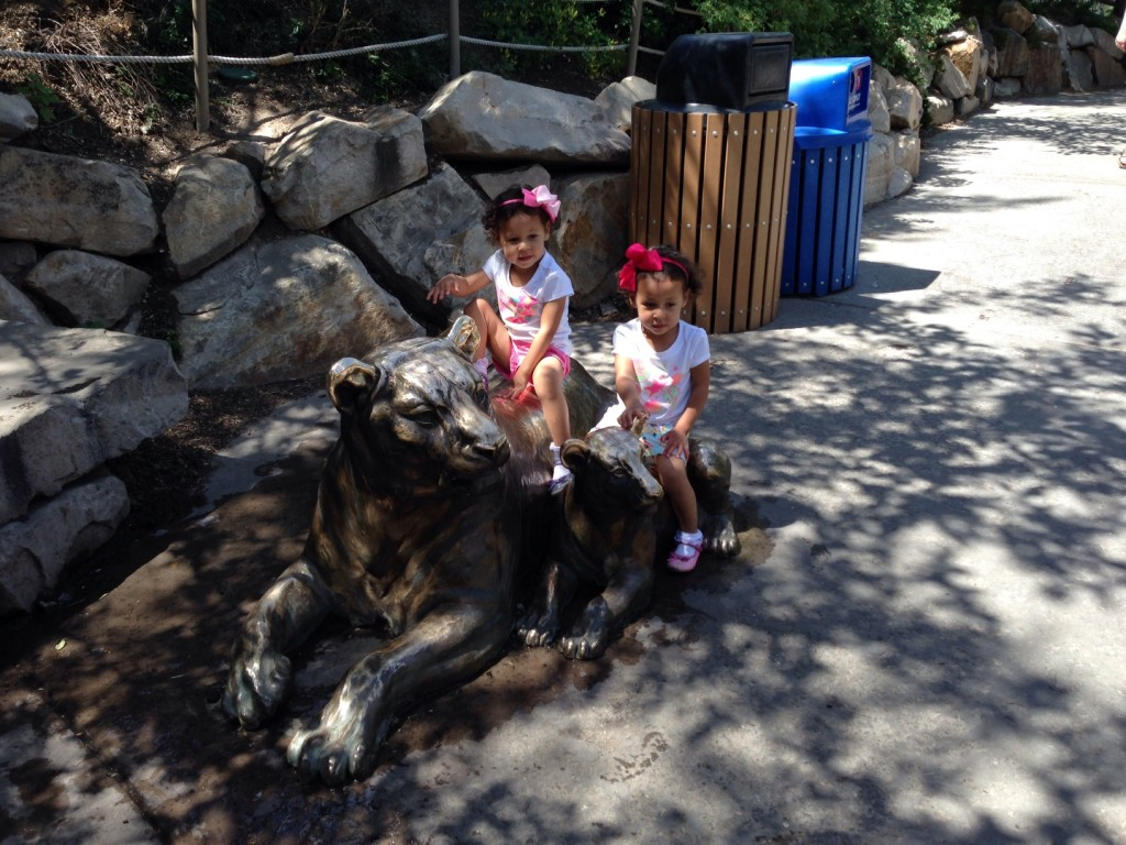 On the tiger statue at Hogle Zoo